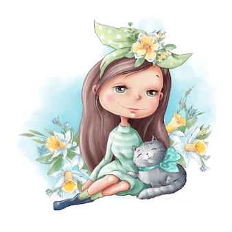Menina bonito dos desenhos animados com um gato e amigos, com flores da primavera