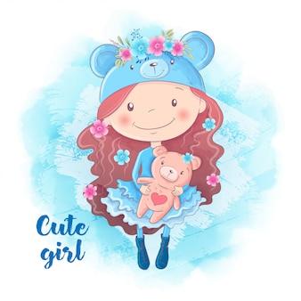 Menina bonito dos desenhos animados com urso.