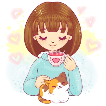 Menina bonito dos desenhos animados com xícara de chá e gatinho