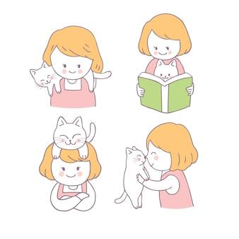 Menina bonito dos desenhos animados e gato set vector