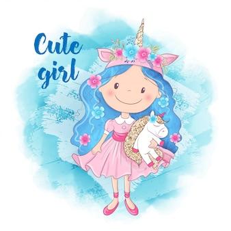 Menina bonito dos desenhos animados e unicórnio
