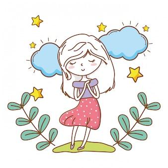 Menina bonito dos desenhos animados elegante roupa vestido guirlanda floral