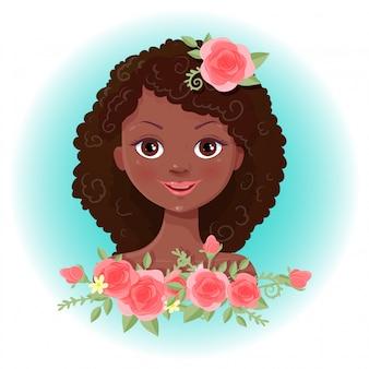 Menina bonito dos desenhos animados em uma coroa de rosas