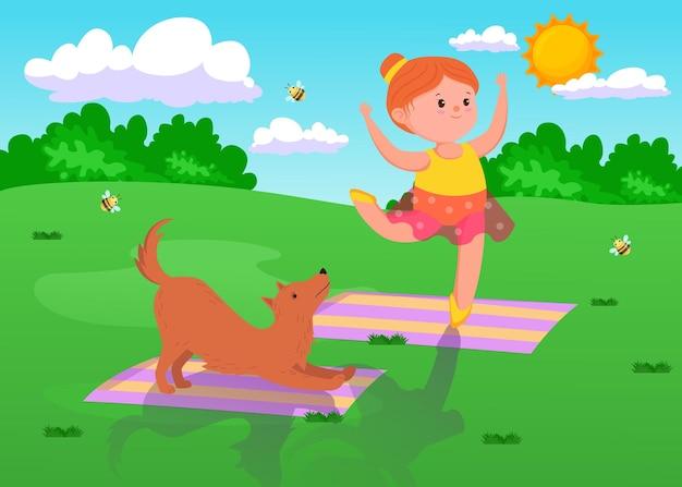 Menina bonito dos desenhos animados fazendo ioga com o cachorro ao ar livre