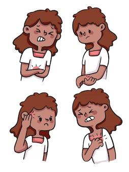 Menina bonito dos desenhos animados ferido, com dor, machucar conjunto de ilustração