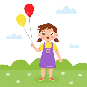 Menina bonito dos desenhos animados fica com balões coloridos.