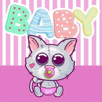 Menina bonito dos desenhos animados gatinho isolado em um fundo rosa