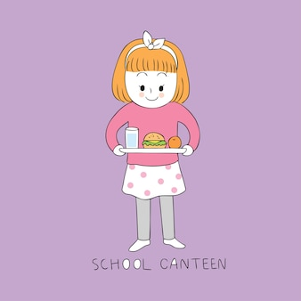 Menina bonito dos desenhos animados no vetor da cantina da escola.