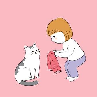 Menina bonito dos desenhos animados que compartilha do lenço para o vetor do gato.