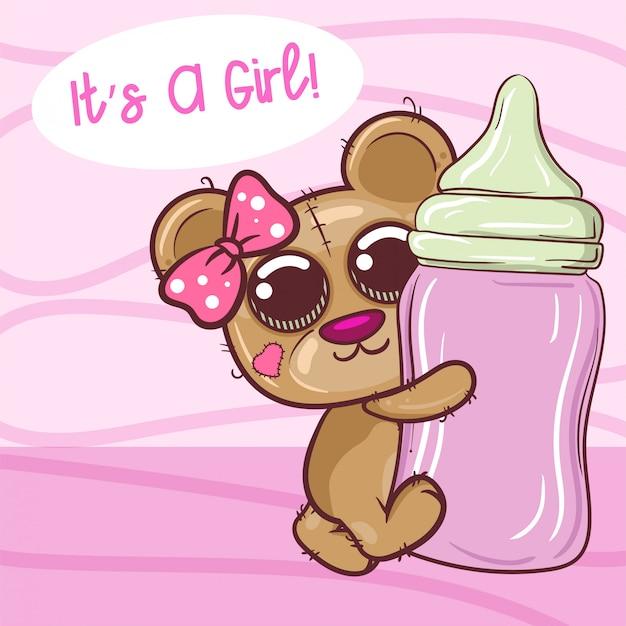 Menina bonito dos desenhos animados urso de pelúcia com mamadeira - vector