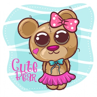 Menina bonito dos desenhos animados urso - vetor
