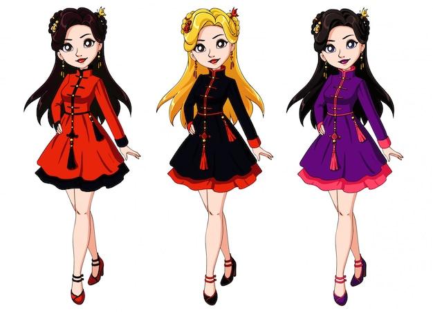 Menina bonito dos desenhos animados, vestido tradicional chinês.