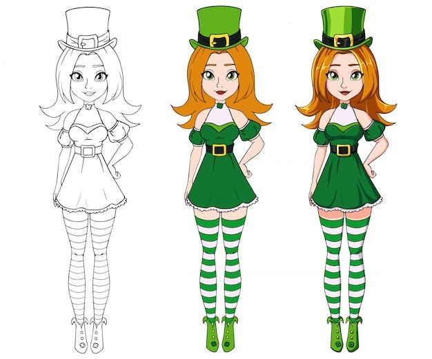 Menina bonito dos desenhos animados, vestindo traje de dia de são patrício.