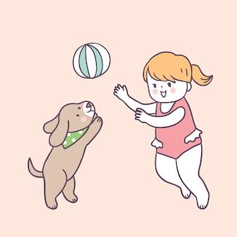 Menina bonito e cão do verão dos desenhos animados que jogam o vetor.