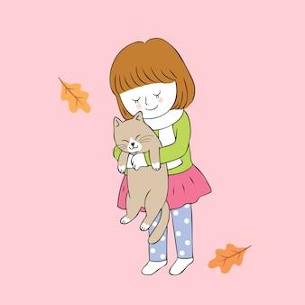 Menina bonito e gato do outono dos desenhos animados que abraçam o vetor.