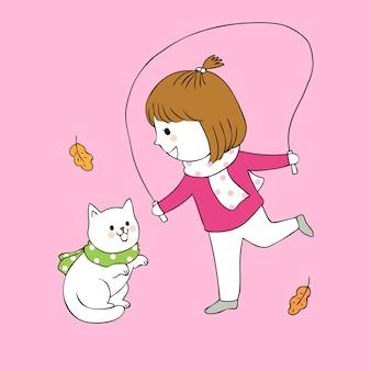 Menina bonito e gato do outono dos desenhos animados que jogam o vetor.