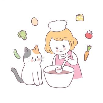 Menina bonito e gato dos desenhos animados que cozinham o vetor.