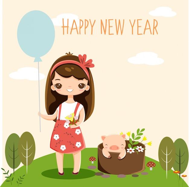 Menina bonito e porquinho no cartão de ano novo