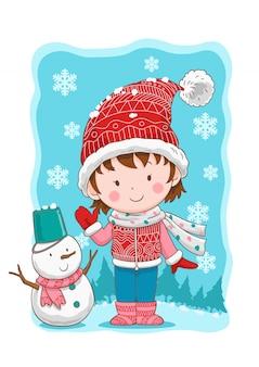 Menina bonito inverno e boneco de neve.