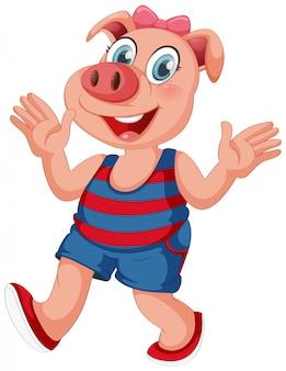 Menina bonito porco