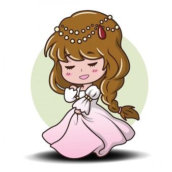 Menina bonito que veste uma princesa., conceito dos desenhos animados do conto de fadas.