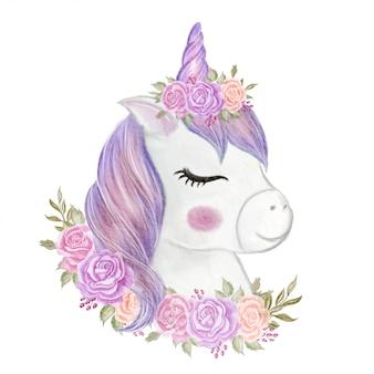 Menina bonito unicórnio com coroa rosa ilustração aquarela