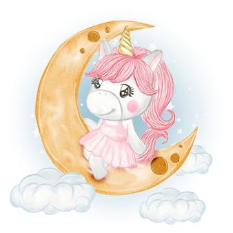Menina bonito unicórnio sentado na lua