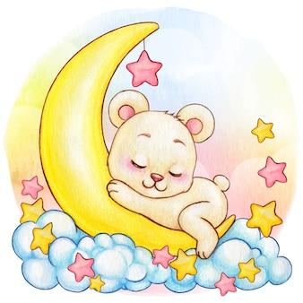 Menina bonito urso branco aquarela dormindo na lua