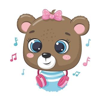 Menina bonito urso dos desenhos animados com fones de ouvido ouvir música