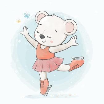 Menina bonito urso na mão de desenhos animados de cor de água de patinar no gelo desenhada