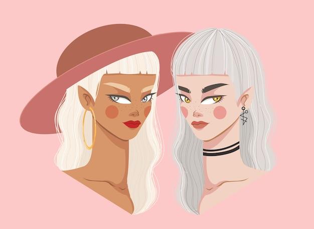 Menina branca e preta. ilustração de belas garotas. poder feminino.