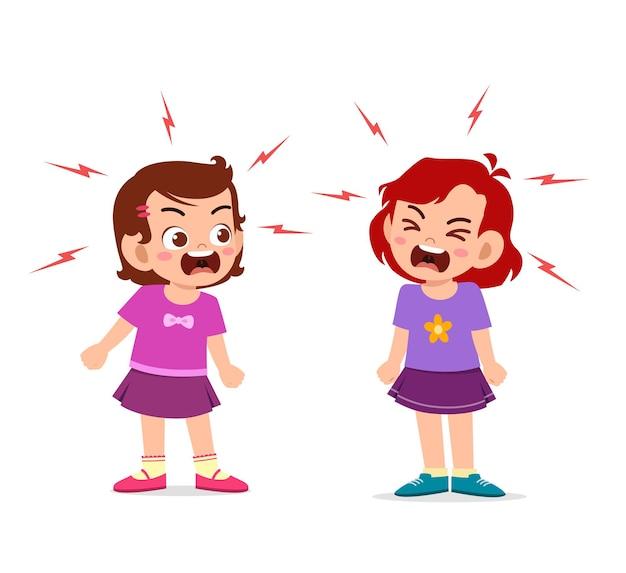 Menina briga e briga com a amiga