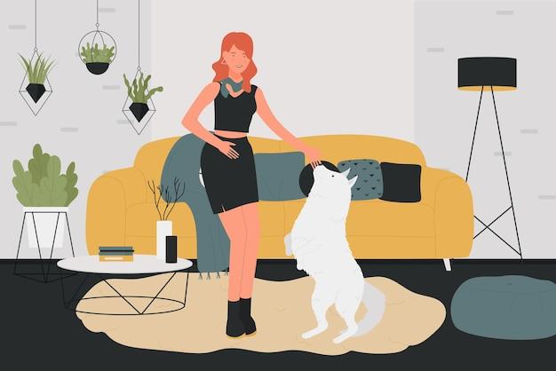Menina brinca com cachorro de estimação em ilustração vetorial de casa. desenho animado jovem dono de animal de estimação brincando com seu cachorrinho no interior da sala de estar, animal doméstico de pé nas patas traseiras, treinamento e amor pelo animal