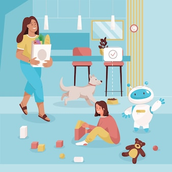 Menina brinca com cubos de brinquedo e babá robótica