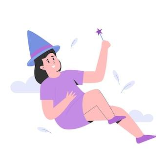 Menina brinca de ser bruxa para o dia mundial da criança