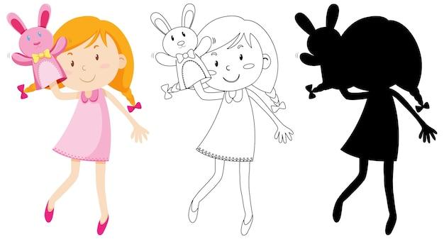 Menina brincando com a mão da boneca em cores, silhueta e contorno