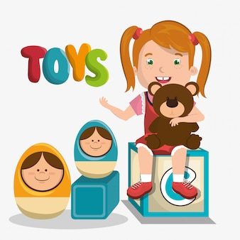 Menina brincando com caráter de brinquedos