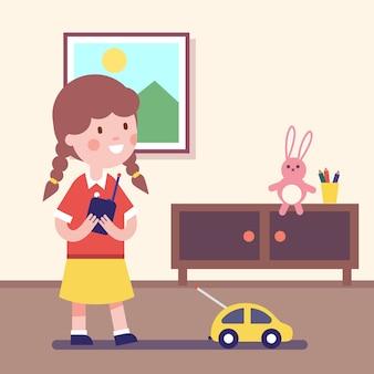 Menina brincando com carro controlado remotamente