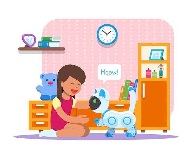 Menina brincando com o robô gato em casa. ilustração de conceito de tecnologia de robótica