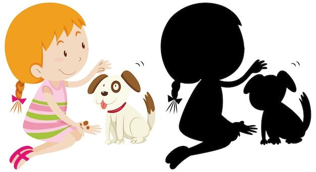 Menina brincando com um cachorro fofo com sua silhueta