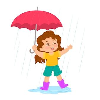 Menina brincando na chuva com guarda-chuva
