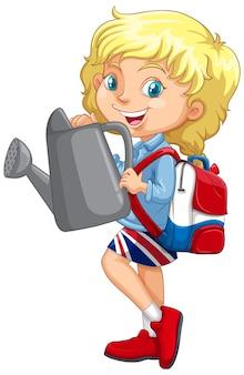 Menina britânica segurando um regador cinza