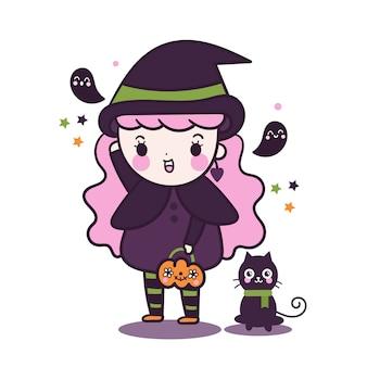 Menina bruxa kawaii segurando balde de abóbora com gato