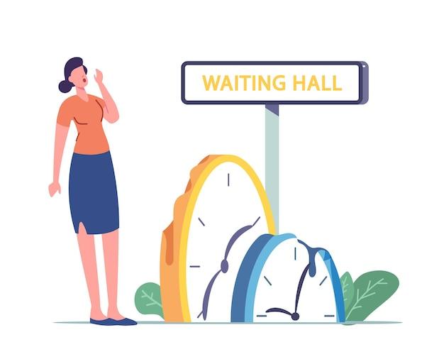 Menina cansada de esperar. ilustração de longa espera