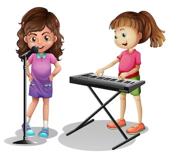 Menina, cantando, e, menina, tocando, piano eletrônico