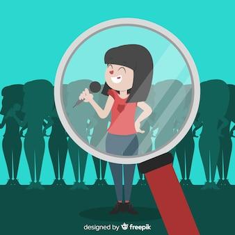 Menina cantando, procurando o fundo do talento