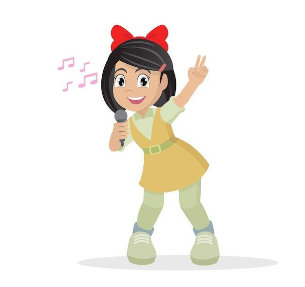Menina cantando.