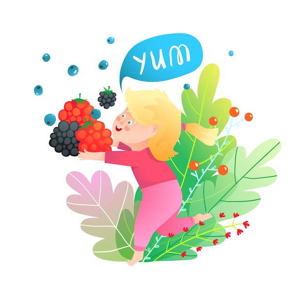 Menina carregando bagas no desenho animado da natureza para comida de crianças. Vetor Premium