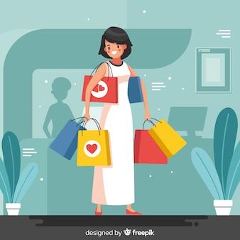 Menina carregando sacolas de compras