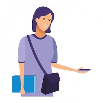 Menina casual roupa smartphone